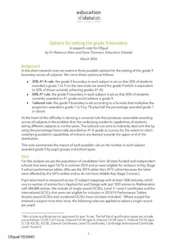 Options for setting the grade 9 boundary in GCSEs - FFT