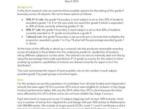 Options for setting the grade 9 boundary in GCSEs