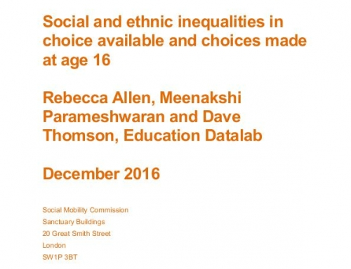 Social and ethnic inequalities in choice available and choices made at age 16