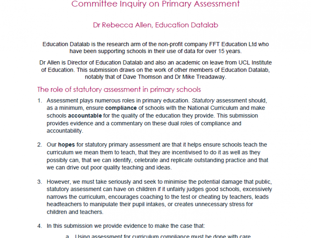 Primary assessment inquiry – Education Datalab submission
